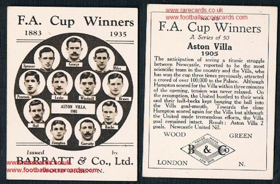 1935 Barratt F A Cup Winners 23 Aston Villa 190 football card
